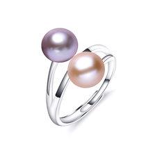 Модные кольца из чистого серебра S925 пробы для женщин, элегантное кольцо с высоким блеском 5А из натурального жемчуга, ювелирные изделия с дв...(China)