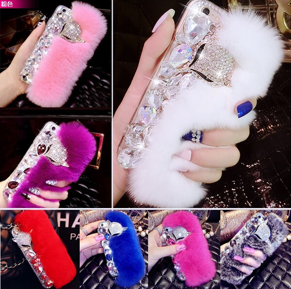 Luxury 3D Fox Rabbit Fur Diamond Crystal Phone Cases Coque Back Cover for iPhone 5s SE 6 7 Plus for Samsung galaxy Case Capa