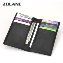 Zolanc 2016 Genuine Leather Credit Card Wallet Cow Leather ID Card Pack Bank Card Holder Business Small Purse Brand Color Black(China (Mainland))