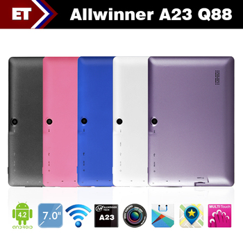 Hot Sale 7 Inch tablet pc Q88 allwinner A23 Dual Core Android 4.2  ROM 4GB Dual camera Support WiFi G Sensor  Free Shipping