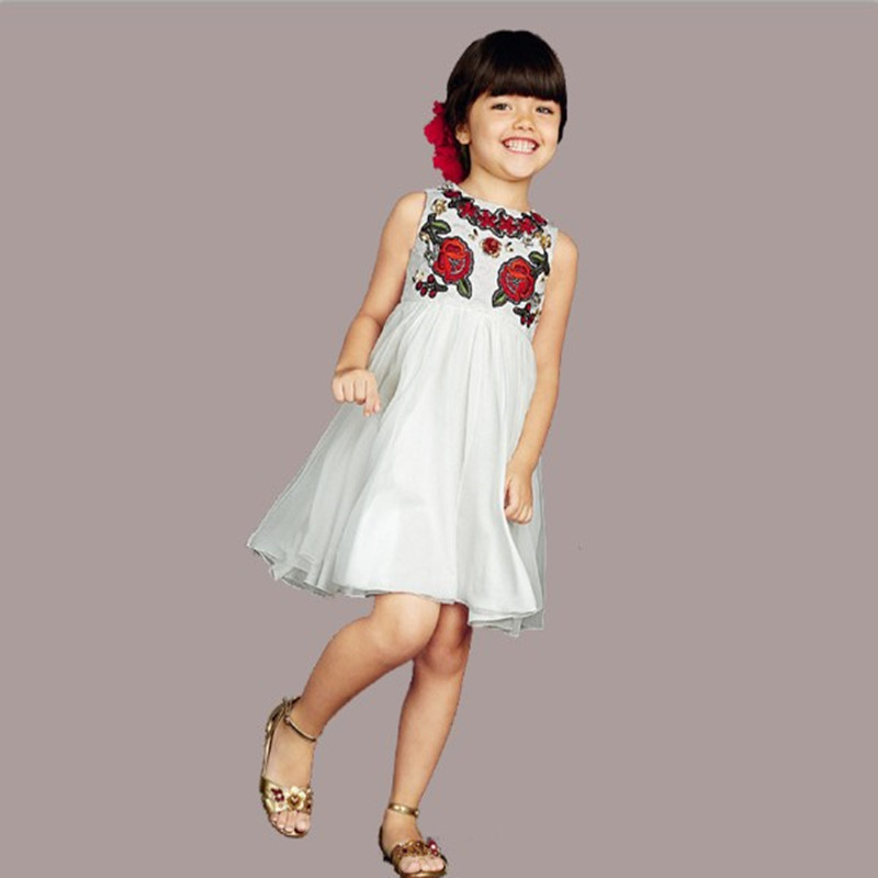 2016 winter High quality White bud silk gauze dresses of tall waist round collar sleeveless vest even clothes girls clothes(China (Mainland))