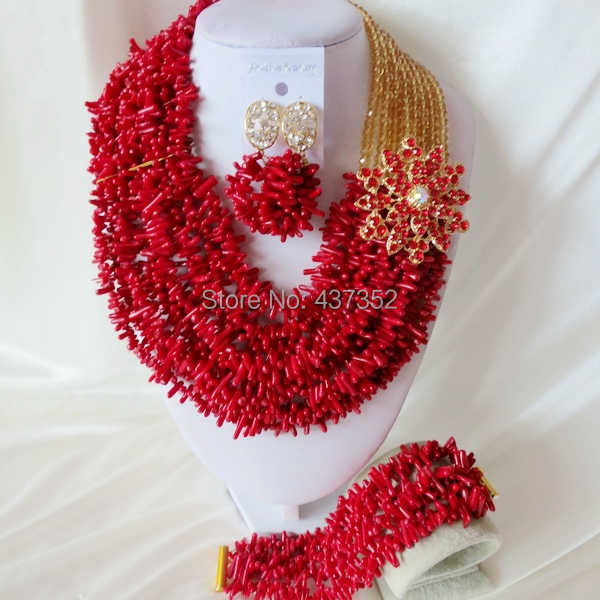 Handmade Nigerian African Wedding Beads Jewelry Set , Champagne Gold Crystal Coral Beads Necklace Bracelet Earrings Set CWS-433<br><br>Aliexpress