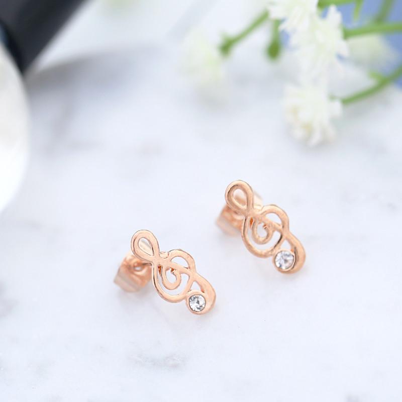 Hot Sales Rose Gold Earrings Alloy Earing Luxurious Elegant Music Note Stud Earrings For Women Ear Jewelry Note Ucuz