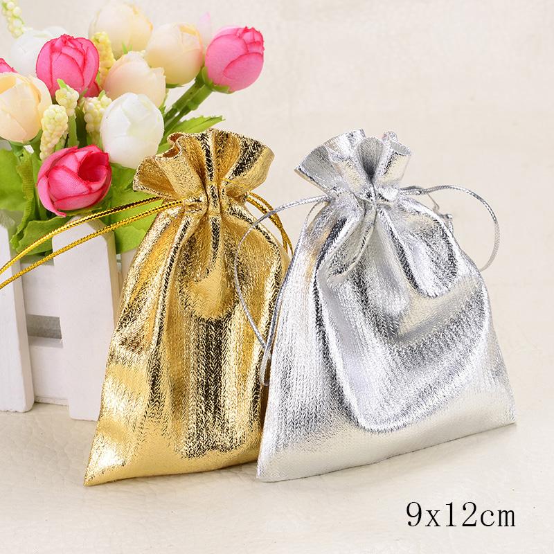 Wholesale cm silver gold candy drawstring organza