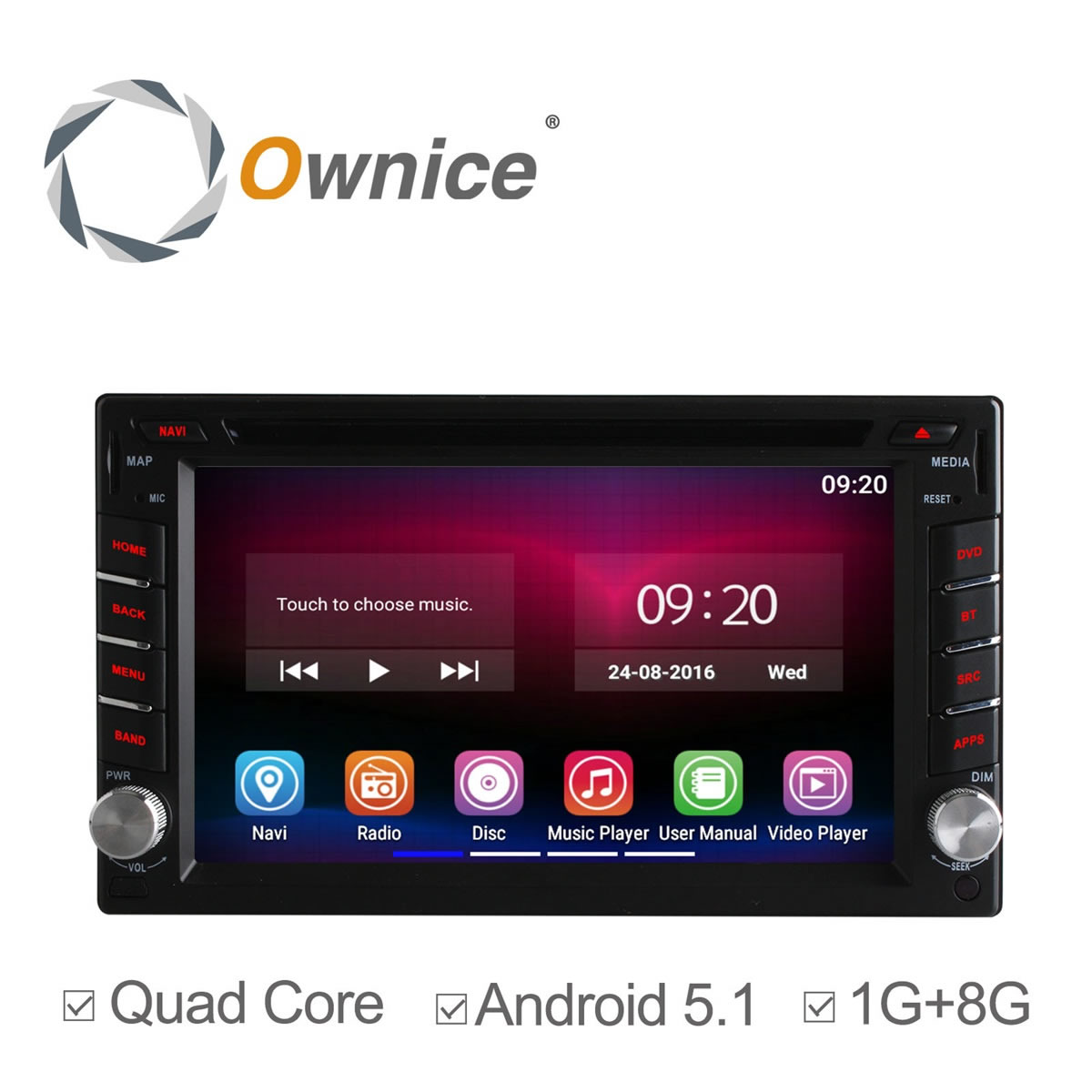 Quad Core Android 5.1 Car Radio Double Din Capacitive Touch Screen Full HD 1080P Stereo DVD Player GPS Navigation System  -  Esson Technology store