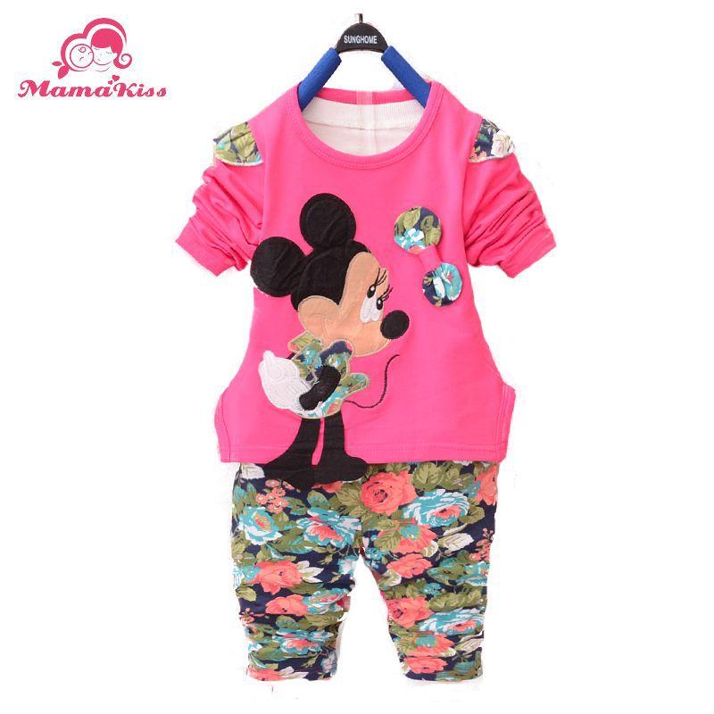 2016 New Autumn Baby girls Clothing Set Cartoon Flower O-Neck full Length Cotton Kids Suit A239 - Helen Children's clothing shop store