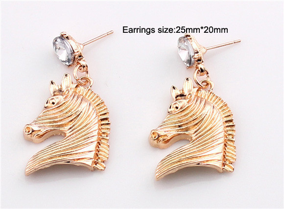Min. order $10(can mix different goods) JLM's Vintage Fashion Gold Plated Rhinestone Horse Women Drop Dangles Earrings - SupermarketMall store