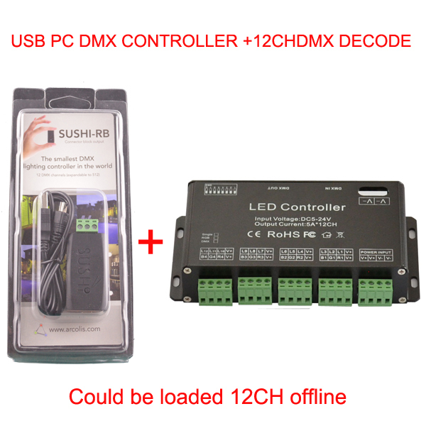 Фотография 12 channel Easy dmx led rgb controller and  dmx usb PC Controller Could be loaded 12CH offline  dmx decoder