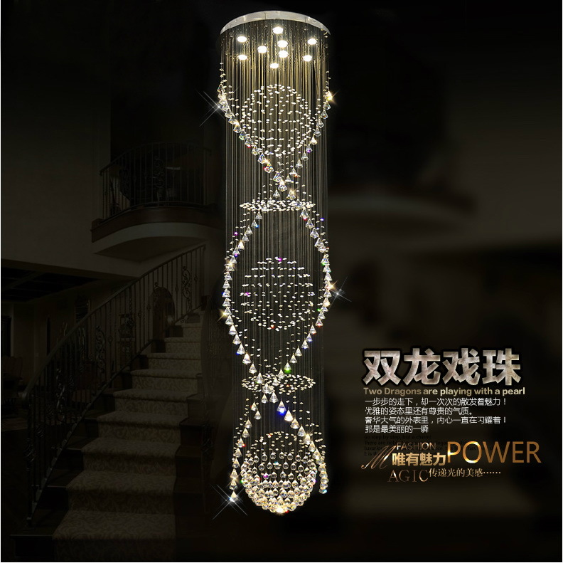 design modern double crystal chandelier,crystal stair lamp + - Professional Crystal Chandelier Lighting store