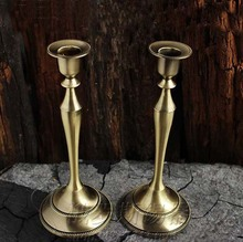 H25cm one piece Metal Cylinder Copper  Candle Holder stand candlestick for wedding decoration gift s1041(China (Mainland))