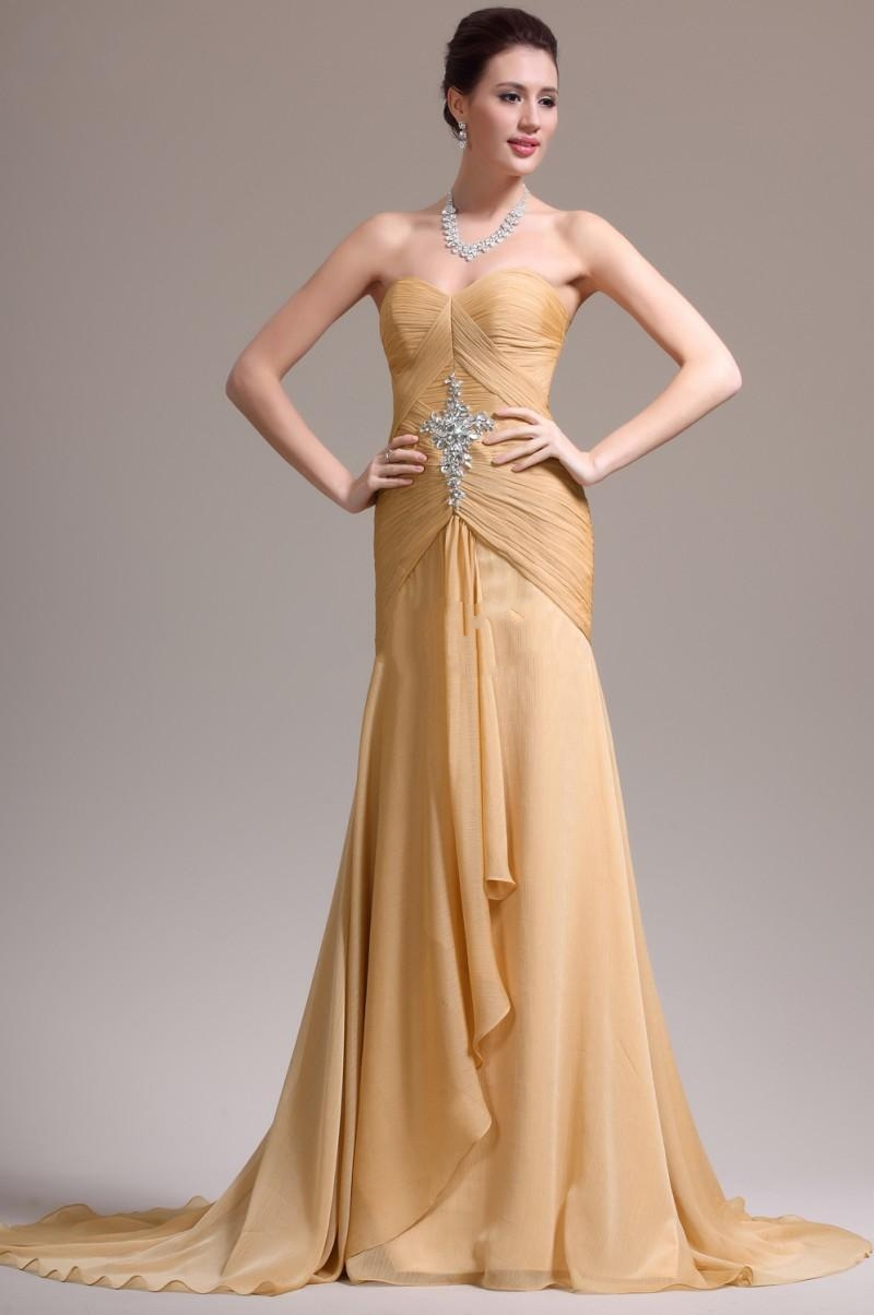 Gold Chiffon Evening Dresses Corset Bodice Formal Gowns ...