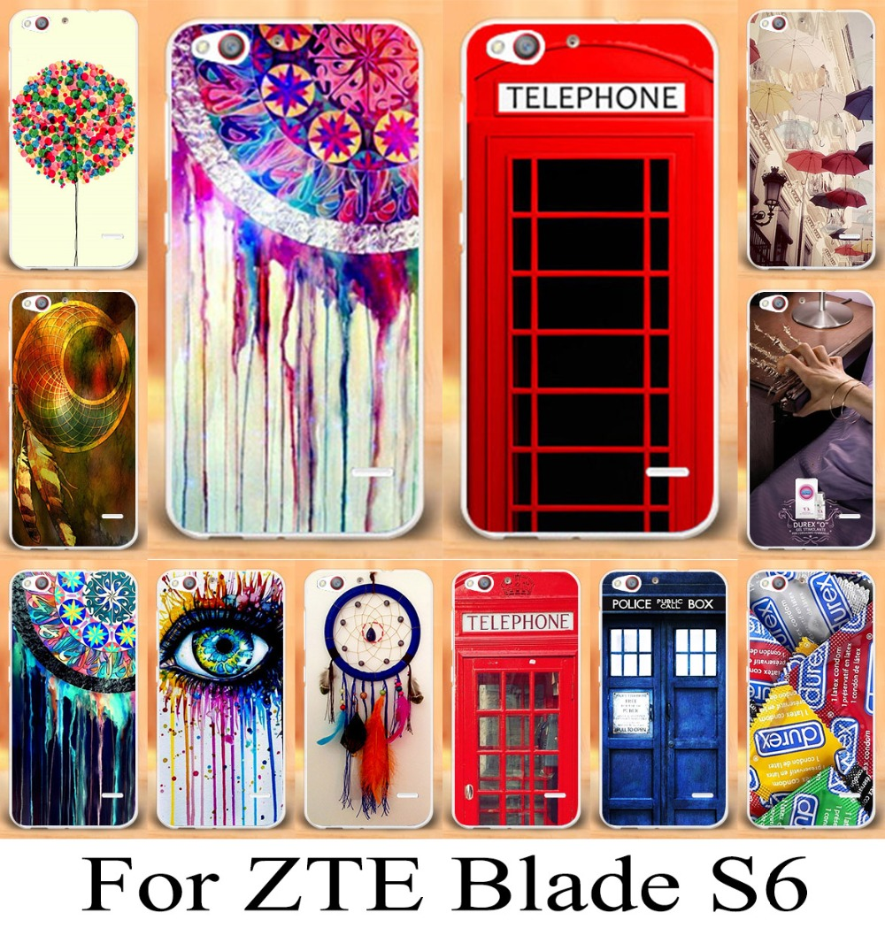 Mobile Phone Case for ZTE Blade S6 Q5 5'' Case For ZTE Blade S6 Phone Case Cover Shell Dreamcatcher Telephone Booth Letters(China (Mainland))