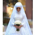 Oumeiya OW306 With Hijab Veil High Neck Long Sleeve Beaded Lace Appliqued Ball Gown Wedding Dresses