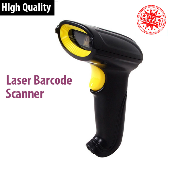 New Laser Barcode Scanner High quality POS Bar Code Reader 1D USB Scanner Color black/white with English Manualfree shipping(China (Mainland))