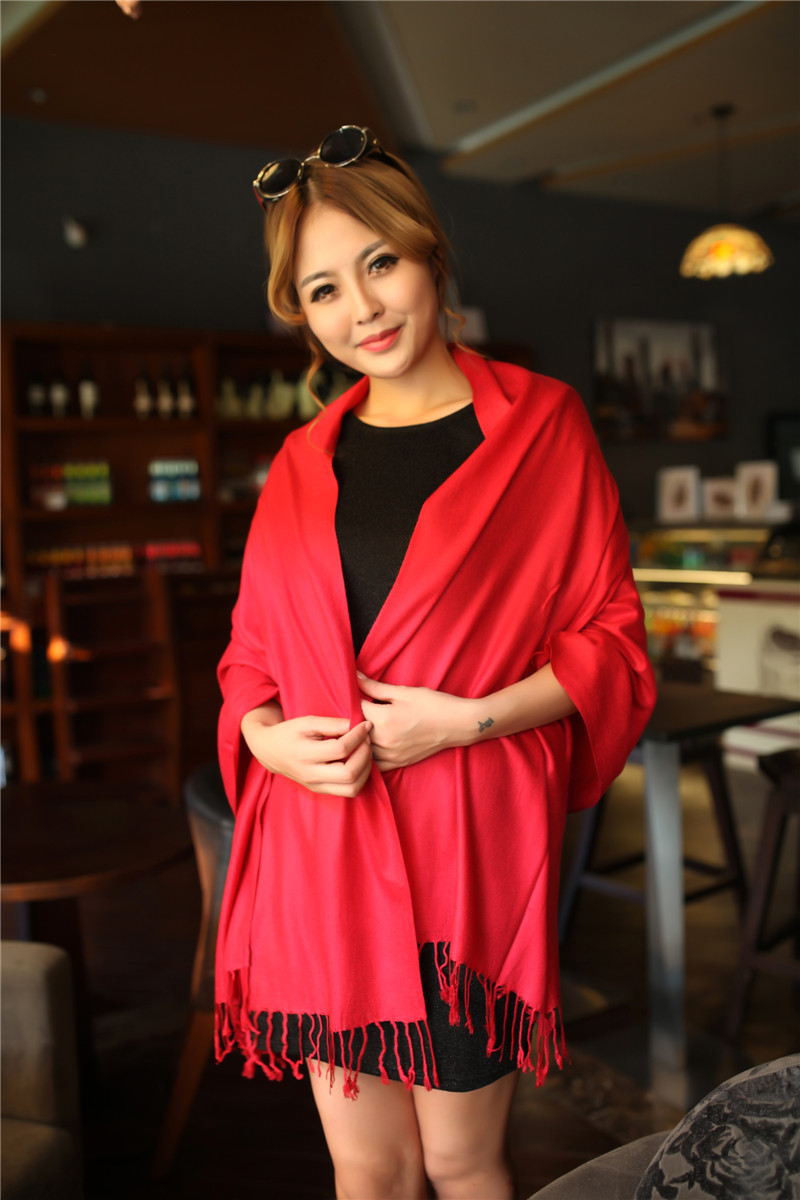 Free shipping Fashion Woman's Solid Pashmina 24 colors Scarves Warm Wool Tassel Scarf Wrap Shawl scarves S3598(China (Mainland))