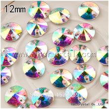 112 шт./кор. 12 мм одежды бусины широкий кристаллы AB плоской задней стразы шить на