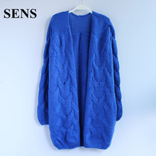SENS Korean Style Women Loose Casual Knitted Long Cardigan Coats New 2015 Autumn And Winter Fashion Candy Color Sweater A184(China (Mainland))