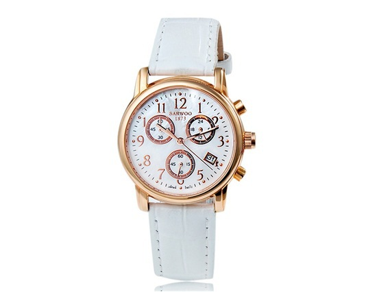 New 2014 SARWOO 09012 Women's Quartz Movement Analog Watch with Leather Strap Calendar Gift Box Trendy Watch Brands Originals(China (Mainland))