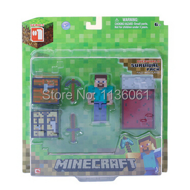 6pcs/1lot 2015minecraft steve sword pickaxe bed box stone model toys minecraft 5-7cm action figure free shipping(China (Mainland))