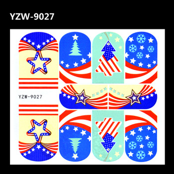 YZWLE 1 Sheet Nail Art Decal Star Holiday Tree Designs Full Cover Water Transfers Stickers For Nails DIY Decoration Accessories