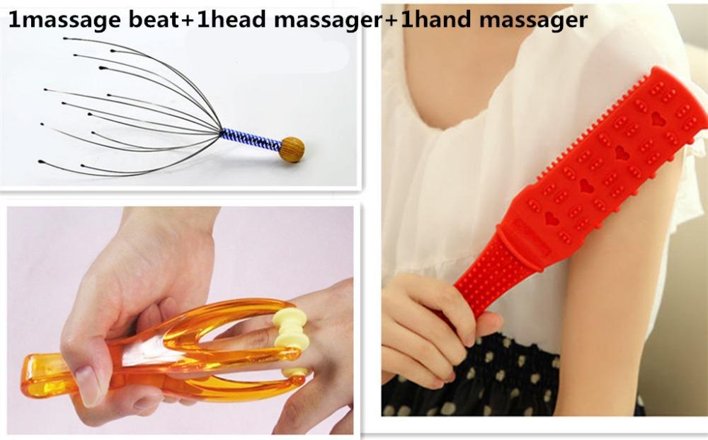 Handheld Manual massager-Portable Hand Held Scalp Head,body,head Massager pak of 3 (1massage beat+1head massager+1hand massager)(China (Mainland))