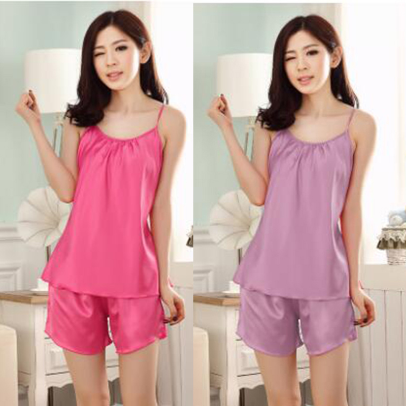 Women imitated silk sleeveless round collar nightgown,lady girl pink orange blue 15 colors shorts classic pajamas nbhd 5012(China (Mainland))