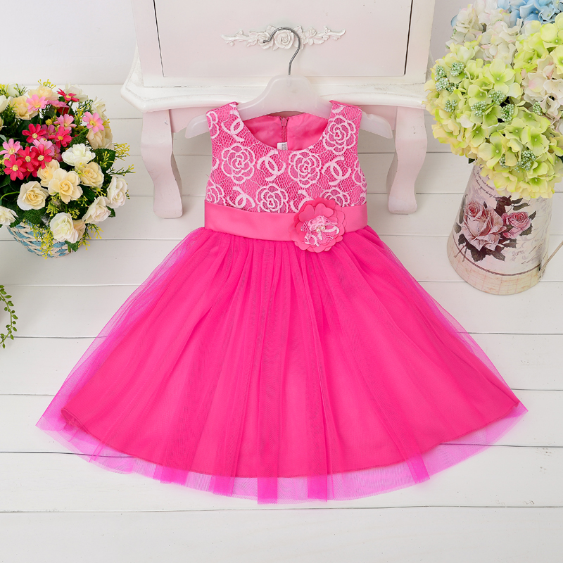 Wholesale 2016 new summer girls lace dress with flower girl hot pink party dress for wedding 6pcs/lot L9003(China (Mainland))