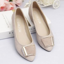 2016 Spring &autumn sweet PU soft leather pointed toe flat elevator rhinestone women's single shoes plus size dipper shoes