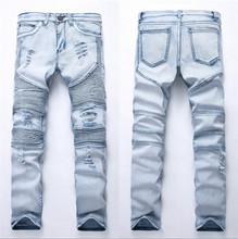 2018 moda Hip Hop parche hombres Retro Jeans rodilla Rap agujero cremallera Biker Jeans hombres holgado Delgado destruido rasgado Denim Hombre Jeans(China)