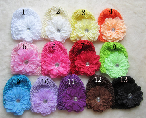 wholesale knitted baby hat peony flower infant caps high quality baby hats boy's girl's gift baby cap 5 PCS/lot(China (Mainland))