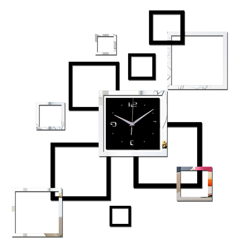 2016 large wall clock home decoration mirror watch wall clock clocks living room modern 3d quartz needle acrylic free shipping(China (Mainland))