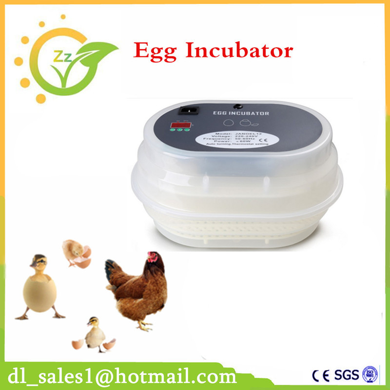 Popular!! Newest Digital Full Automatic 12 Hen Duck Bird Eggs Incubator Poultry Turner Quail Hatcher With CE Approved(China (Mainland))