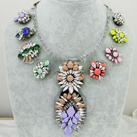 Wholesale Chain chunky shourouk PVC Choker statement necklaces fashion flower pendant Necklace women Christmas Luxury gift(China (Mainland))