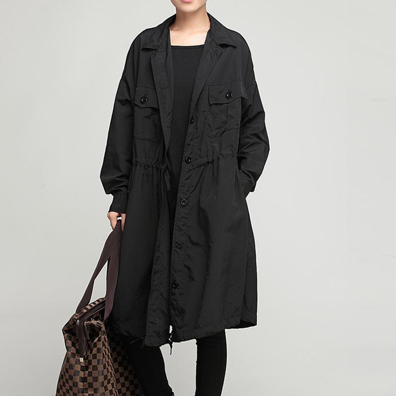 2015 Fashion Turn Down Collar Tunic Waist Oversize Black Trench Coat Women Single Breasted Slim Long Coat For Women
