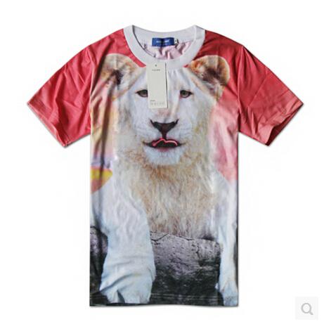 3 d lion hip-hop short sleeve T-shirt printing Loose tops 2015 fashion men T shirt szie M-XXL - bunny xie items store