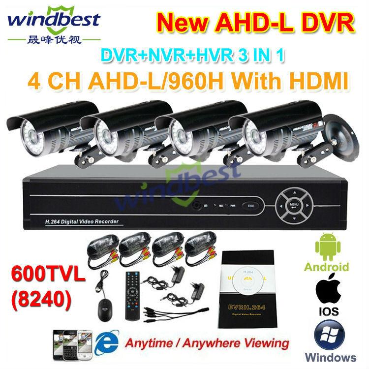 Home Security 4CH 960H AHD-L HDMI DVR/NVR Surveillance Kit System 600TVL 36pcs IR LED Nightvision Outdoor Waterproof CCTV Camera(China (Mainland))