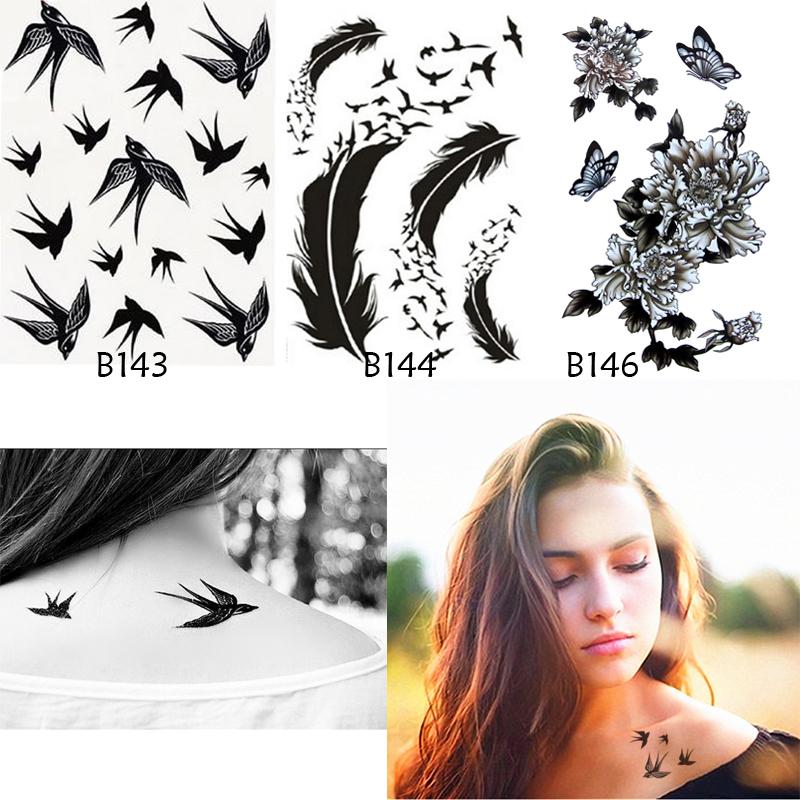 achetez en gros oiseau plume tatouages en ligne des. Black Bedroom Furniture Sets. Home Design Ideas