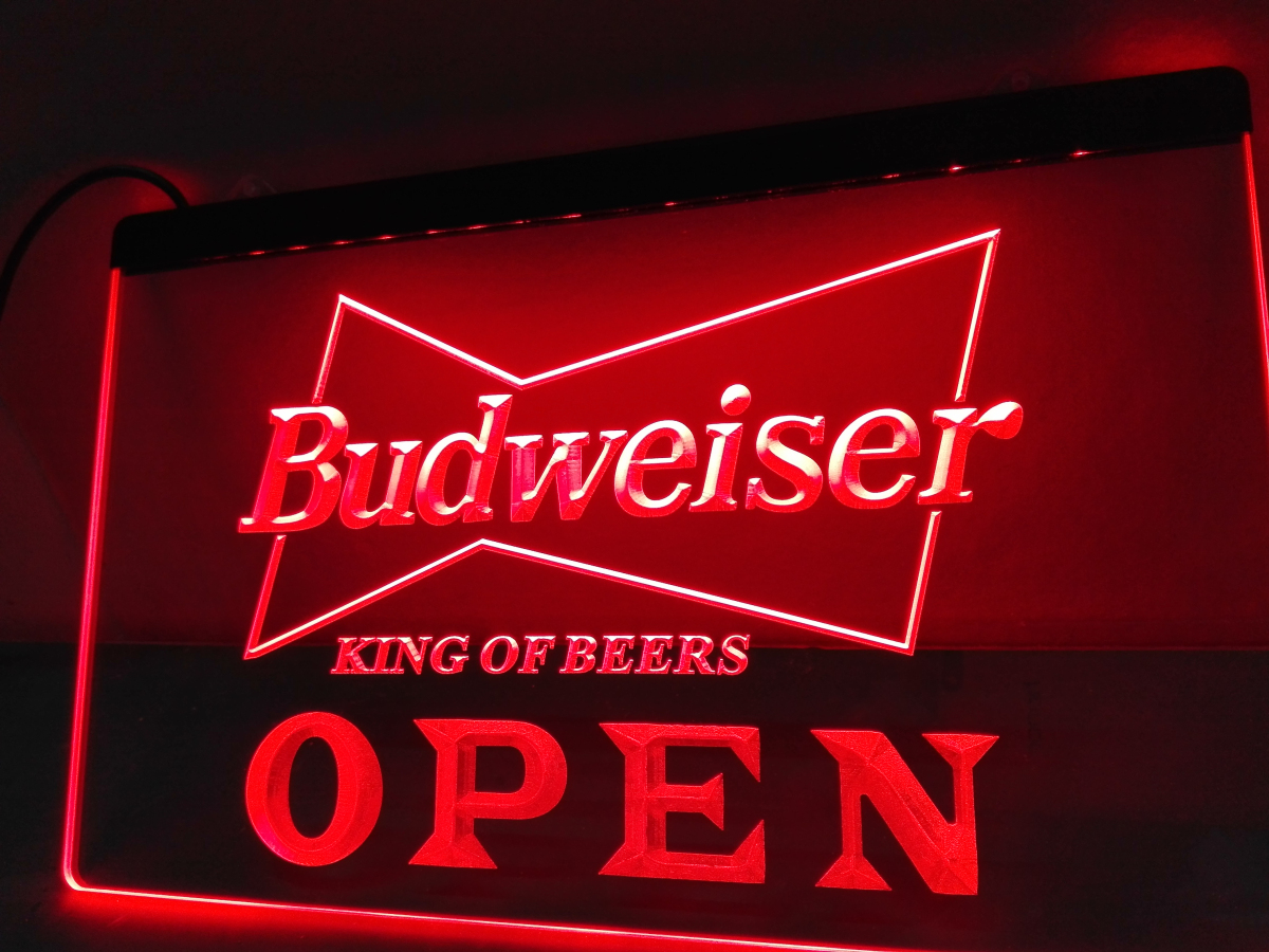 LE113- OPEN Budweiser Beer NR Pub Bar LED Neon Light Sign(China (Mainland))
