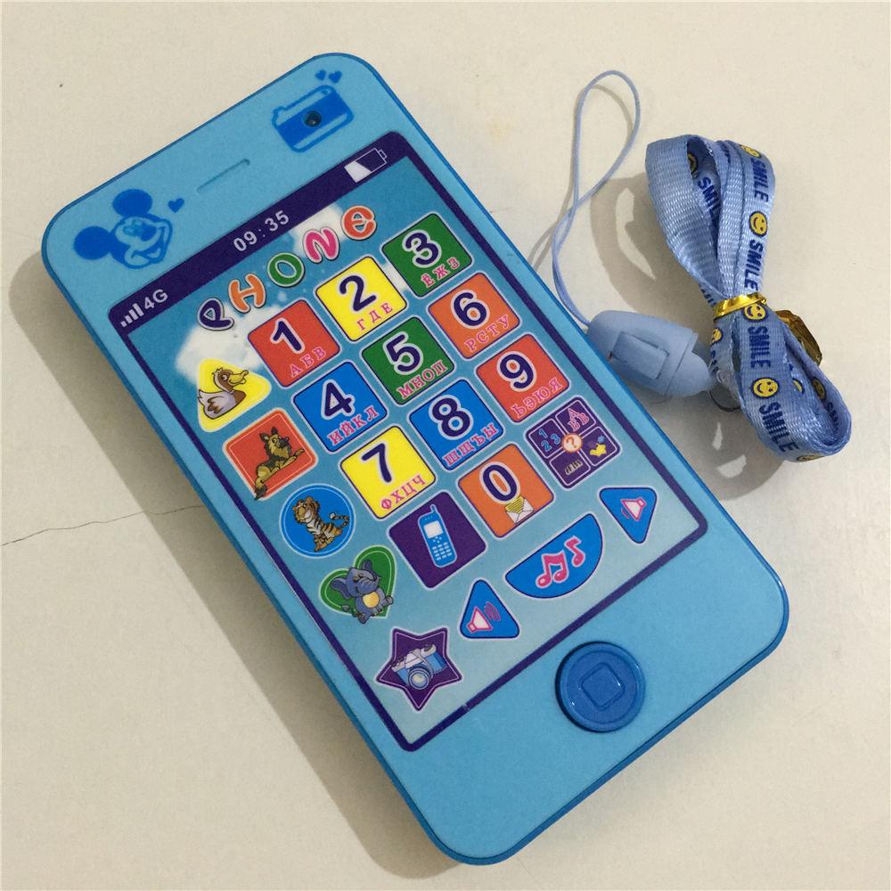 Wholesale Russian Language Baby Phone Toy Flashing Toys Kids Children's Educational Simulationp Music Mobile Phone 4G Brinquedos(China (Mainland))