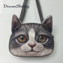Dream Shining Hot Selling Woman Handbag Dog Head Pattern Fashon Lovely Casual Shoulder Bag PU Material Zipper Messenger Bag(China (Mainland))