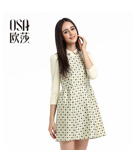 OSA Womens Autumn Winter Dress Beading Turn Down Collar High Waist Chiffon Dress Floral Print Dress Plus Size SL430058(China (Mainland))