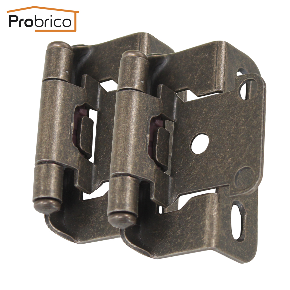 Probrico 4 Pair Self Close Kitchen Cabinet Hinge Antique Bronze CH196AB Partial Wrap 1/2-Inch Overlay Furniture Cupboard Hinge(China (Mainland))