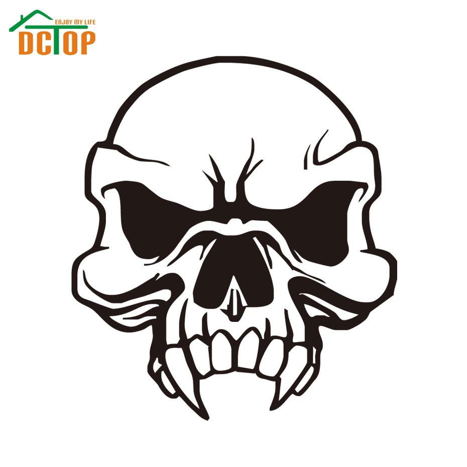 Long Teeth Skull Cracked Human Head Car Sticker Waterproof Vinyl Adhesive Auto Tail Decorative Sticker Car Styling Decals(China (Mainland))