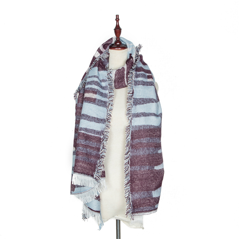 Richkoko Fashion Stripe Autumn And Winter Scarf Soft Hand Paint All Match Basic Women Shawl Female Casual Outwear Women Scarf