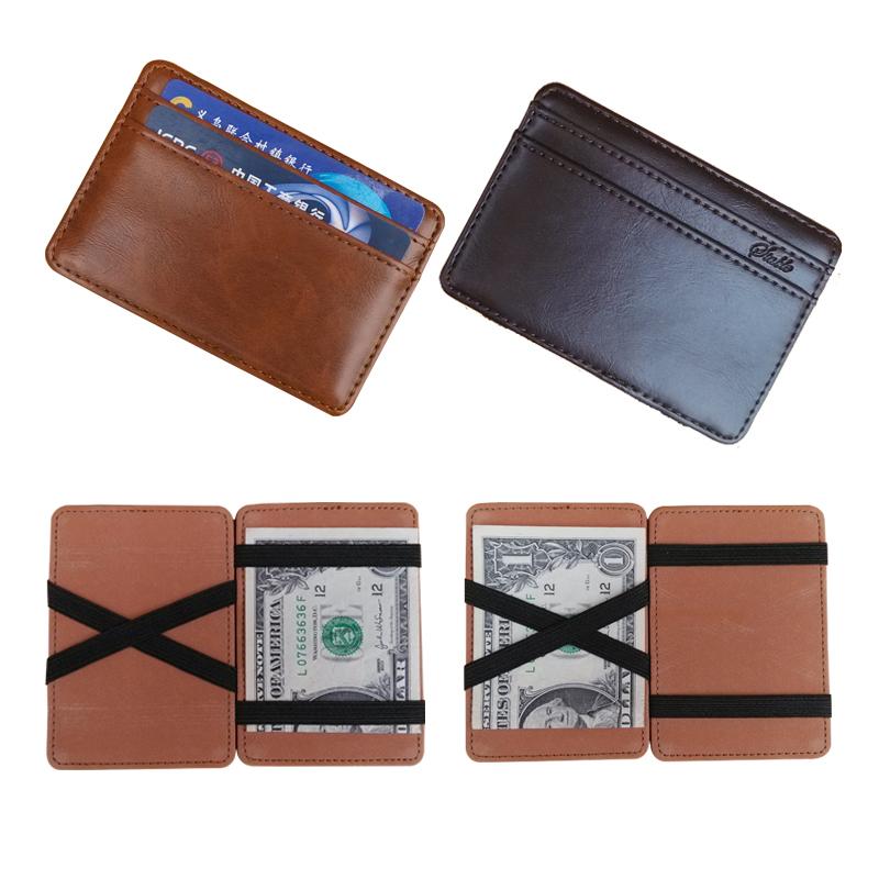 2016 New arrival High quality leather magic wallets Fashion men money clips card purse 2 colors