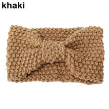 1 PC Women Lady Crochet Bow Knot Turban Knitted Head Wrap Hairband Winter Ear Warmer Headband Hair Band Accessories(China (Mainland))