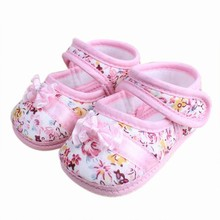 Lovely Infants Baby Kids Bowknot Flower Printed Prewalker Cotton Cloth Shoes New