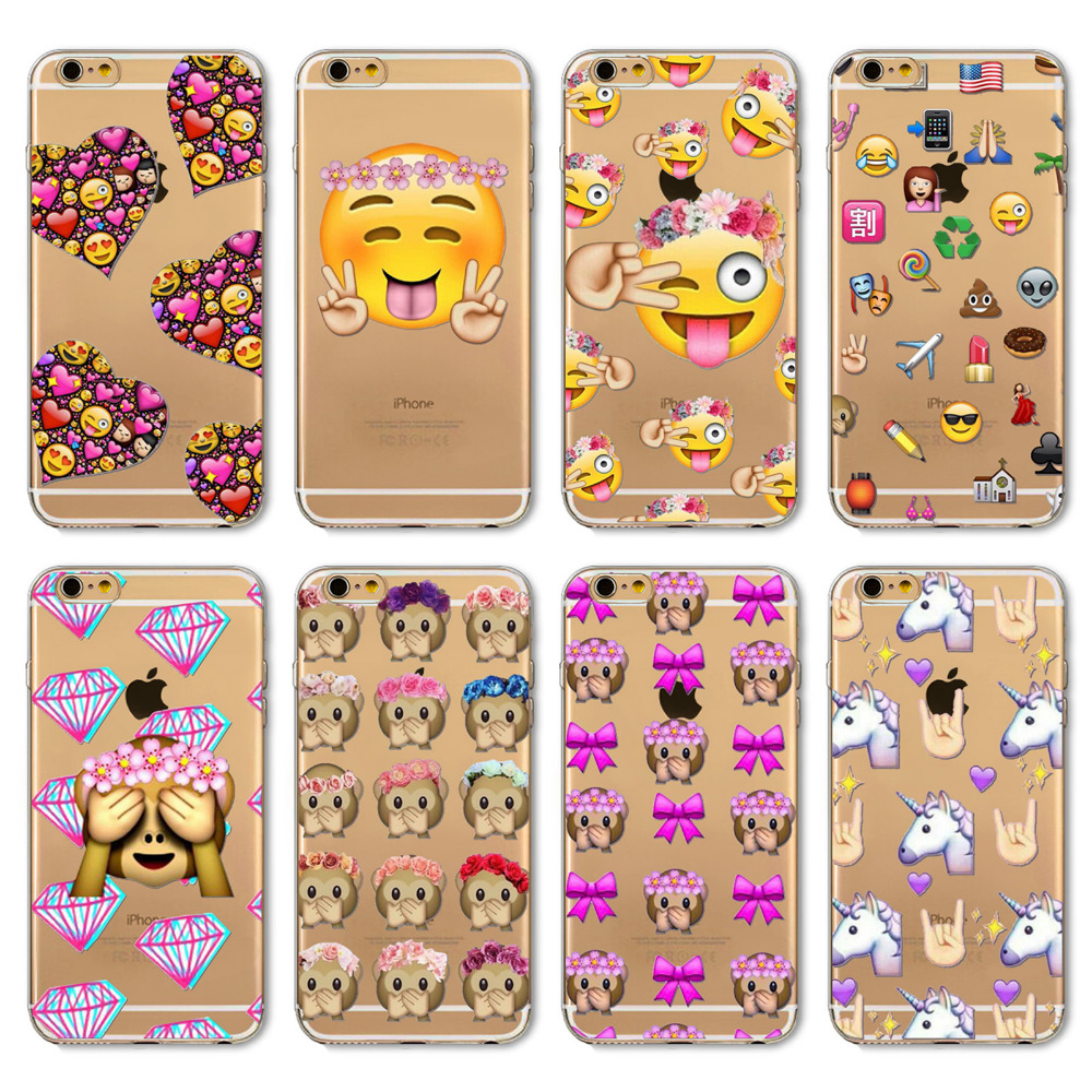 2016 Funny Phone Case For Apple iPhone 4 4S 5 5S SE 6 6s 6Plus 6sPlus Cover Transparent Silicon Monkey Emoji Mobile Phone Bag(China (Mainland))