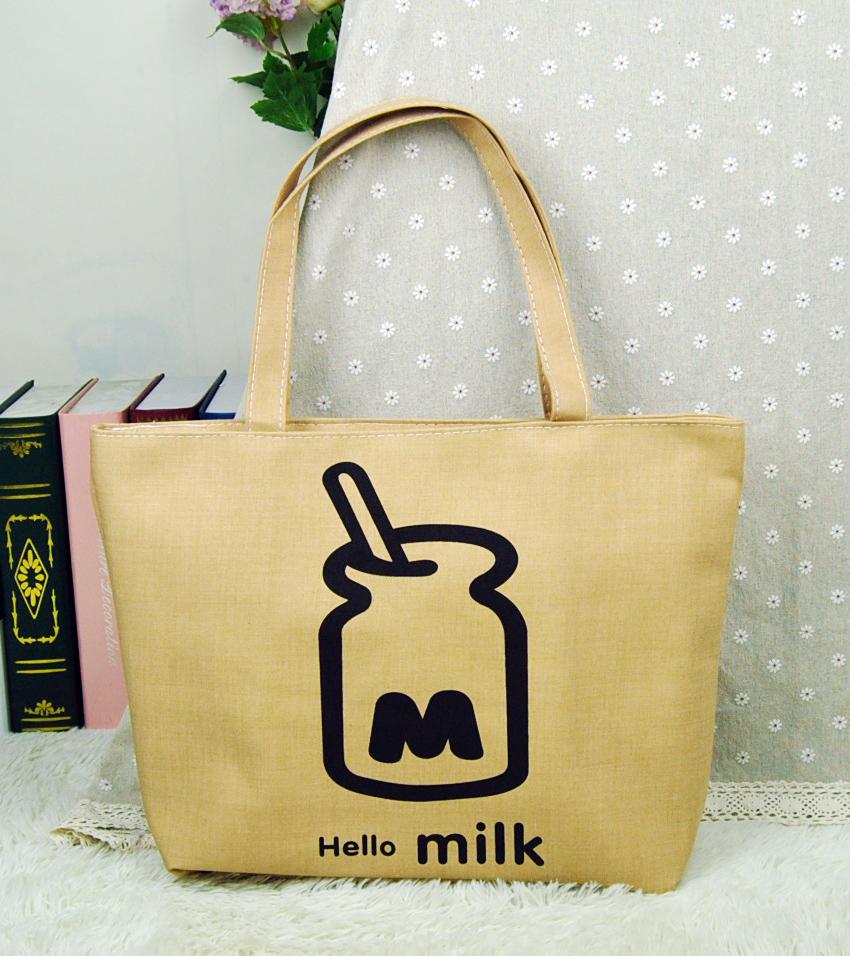 Women Canvas Handbag Milk Bottle Printed Large Space Zipper Shopping Travel Shoulder Bag Girls Beach Casual Tote HG43(China (Mainland))