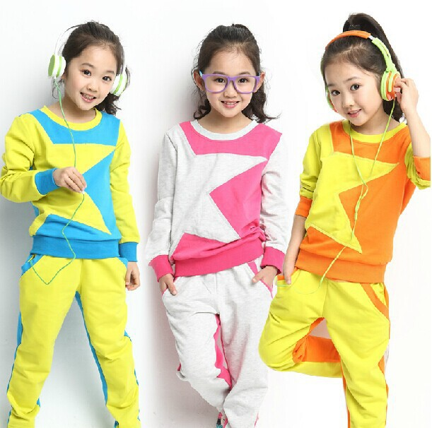 2015 New Long-Sleeved Suit Girls Spring Pentacle Multicolor Piece Suit Big Virgin Children Clothing Sets XYZ15171(China (Mainland))
